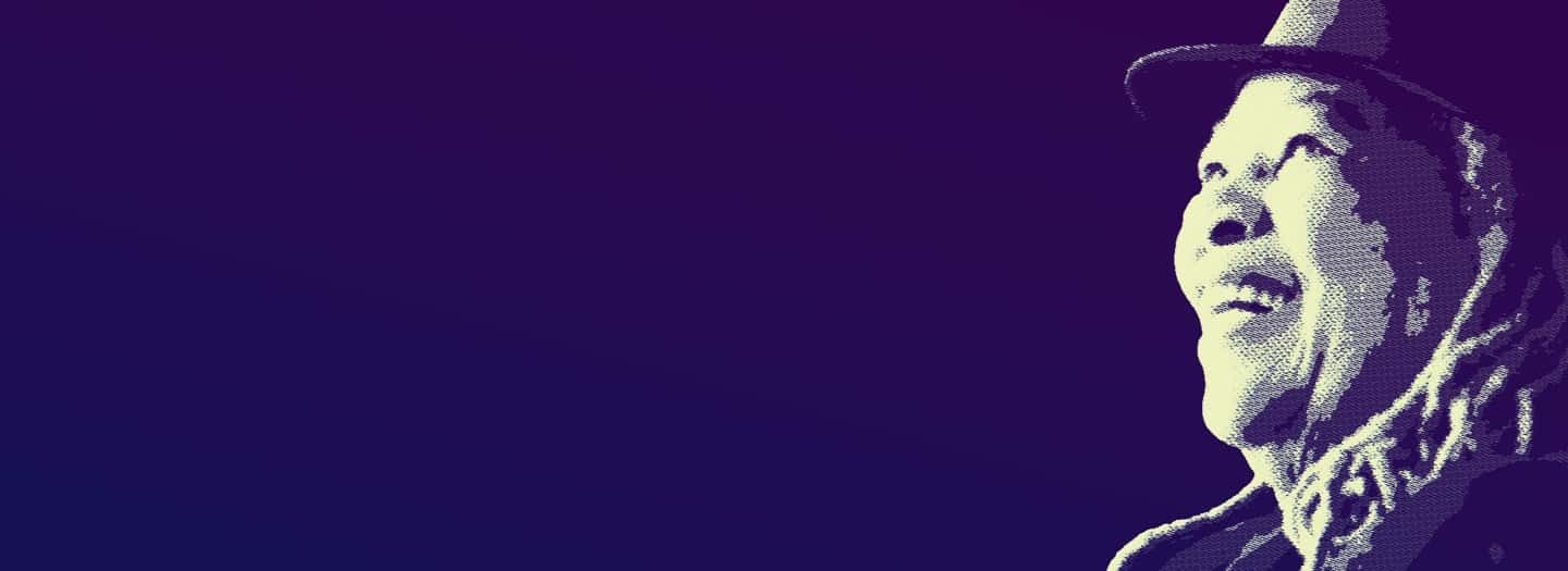 Image of Toni Morrison's head on a purple background