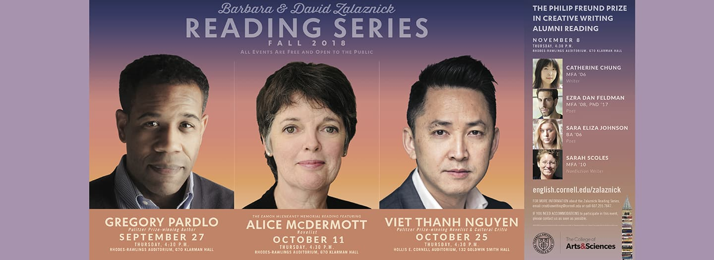 Fall 2018 Reading series banner with photos of visiting writers