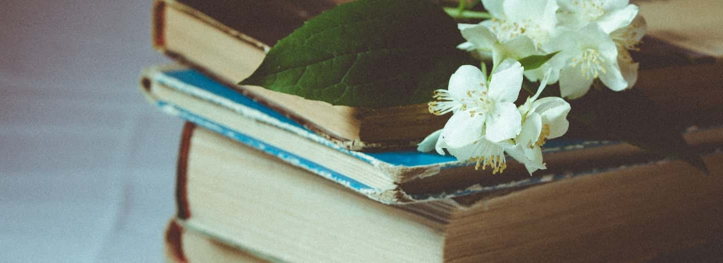 Books with flower sprig